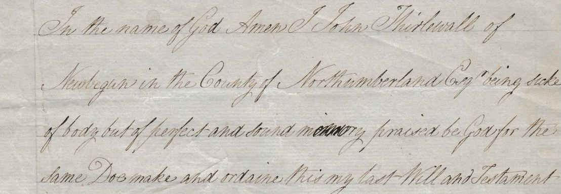 Extracted Will of John Thirlewall