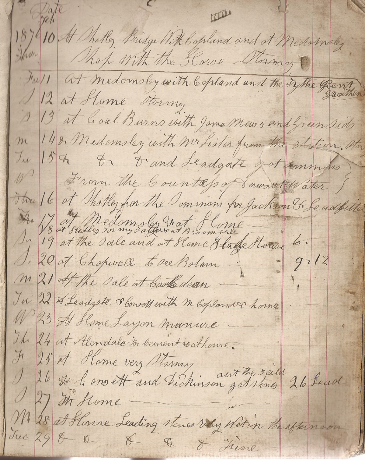 Page 3 of William Charlton's Diary