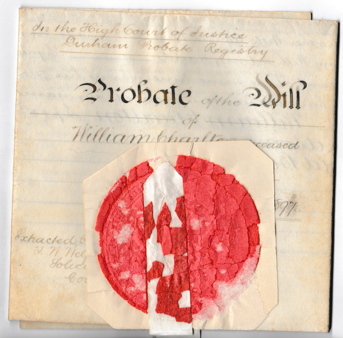 Probabate of the Will of William Charlton 1829 – 1896