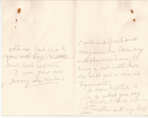 Letter from William Charlton to his mother (p2)