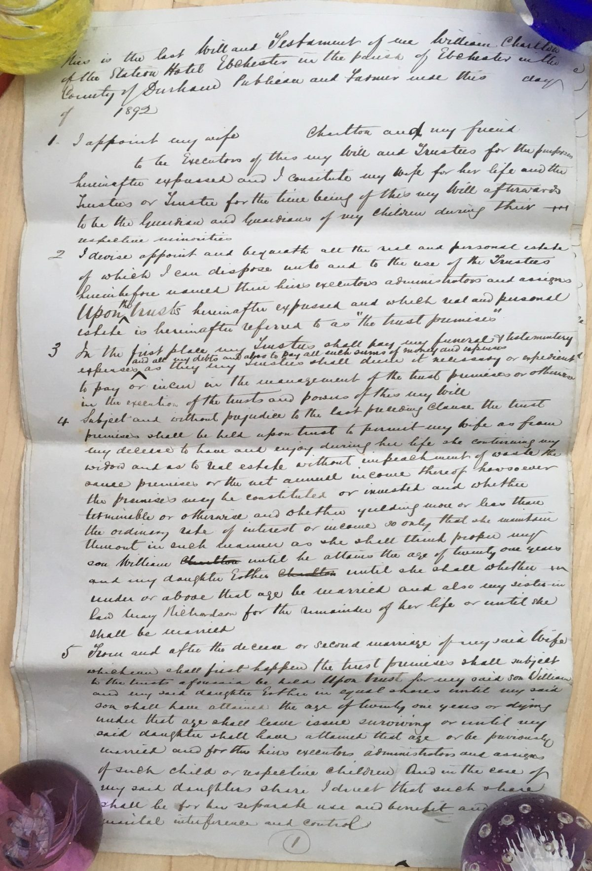 Will of William Charlton (1829 – 1896)
